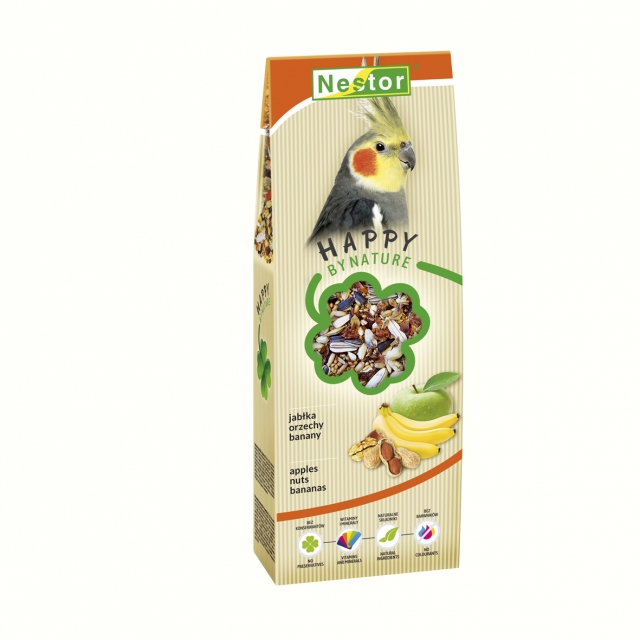 Premium Food for large parakeets with apples, nuts and bananas